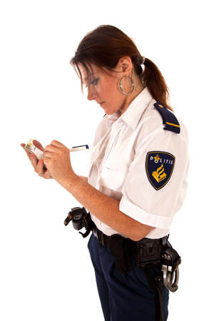 face guard: dutch female police officer on white background