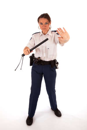 face guard: Female dutch police officer Stock Photo