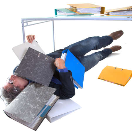 senior burried with work, hopeless and stressed