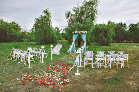 tree decorations: wedding decor on the lawn, wedding arch, chairs with ribbons. turquoise, purple and white. The rose petals on the ground. Wedding ceremony