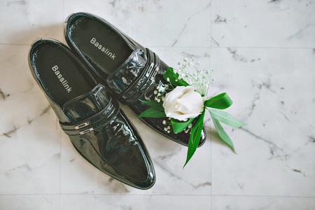 Purple, Pink, White Wedding Bouquet Of Flowers. Men\'s Black Shoes ...