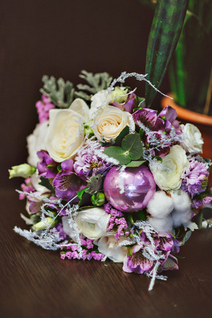 Wedding Bouquet Bridal Bouquet In Purple Tones With Decorations