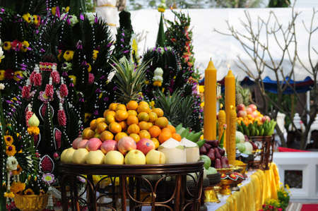auspiciousness: Thai traditional tray with rice offering pedestal  pan bai sri  in the ceremony