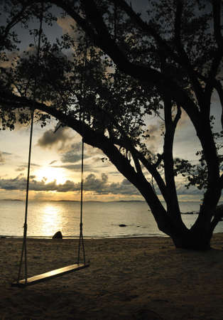 Silhouette tree with swing on the beach during sunset, Thailand photo