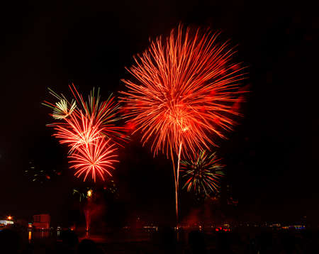 Colorful  Firework display at holiday night photo