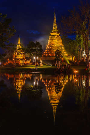 Sukhothai Historical Park and lighting at night, Sukhothai Province, Thailand  photo