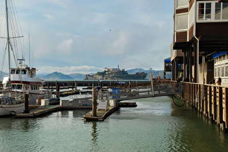 u s a: View of Alcatraz Island from the Pier 39 in San Francisco, California, U S A
