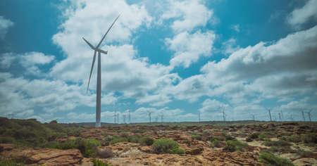 wind turbine with beautiful blue sky