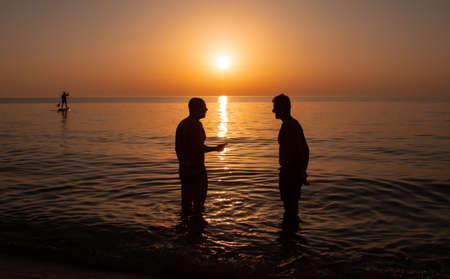 friendship travel beach sunset Sardinia Stock fotó
