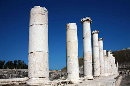 the scriptures: Archaelogical site of Beit Shean in the Jordan Valley of Israel Stock Photo