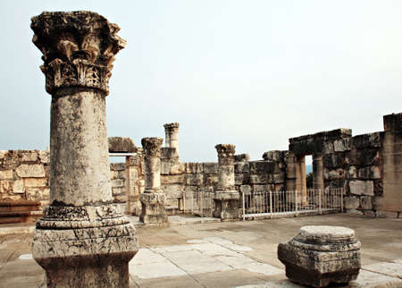 Ruins of  synagogue in Capernaum, Israel Imagens