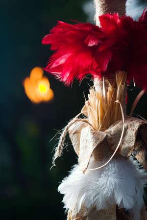 Ancient feathered Hawaiian spear