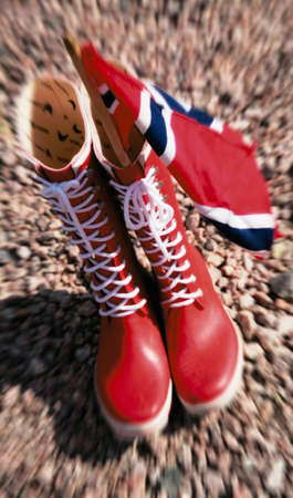 illustration of rain boots with Norwegian Flag