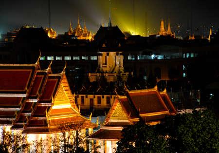 bangkok temple: Wat Phra Kaew at night in Bangkok - Temple of Emerald Buddha - Thailand Stock Photo