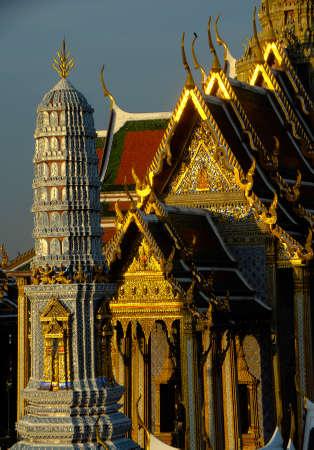 bangkok temple: Wat Phra Kaew in Bangkok - Temple of Emerald Buddha - Thailand Stock Photo