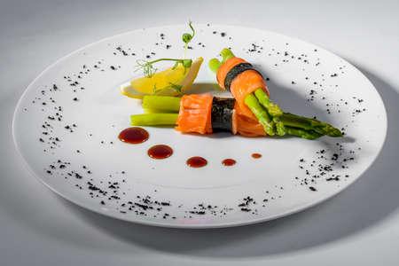 salmon with asparagus and lemon Stock Photo