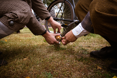 carbide: Tweed Bike Ride in Saint Petersburg in 2015 Stock Photo