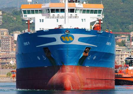 docking: During petroleum tanker docking at the port of Genoa