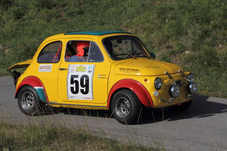 valley's: racing car Fiat 500 to Genoese valleys rally 2015 Editorial