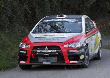 pilotage: racing car Mitsubishi Evo 9 Editorial