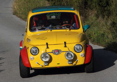 processing speed: racing car Fiat 500 to Genoese valleys rally 2015 Editorial