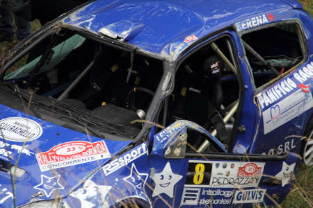 roll bar: Accident on a car race Editorial