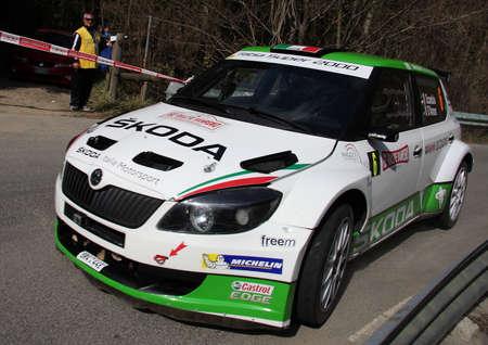 sanremo: racing car Skoda rally in Sanremo Editorial