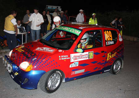 Fiat 600 of a female crew at the start of the Sanremo Rally