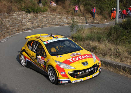 The winner of the Sanremo Rally 2013 Terry Neville in a Peugeot 207 Super 2000
