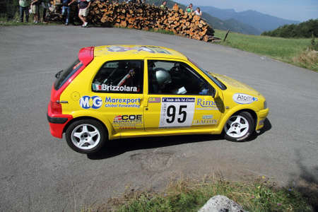 resumed: Peugeot 106 rally car During a race Resumed on three wheels
