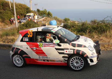 fiat: fiat 500 rally car During a race