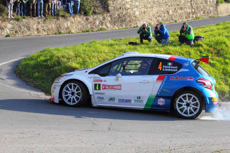Testico Italy- 1 April 2017 to 64 Â ° Sanremo Rally Of: The Peugeot 208 T16 crew Andreucci-Andreussi winner of the rally during the special test speed timed called Ginestro Colle DOggia. Editorial