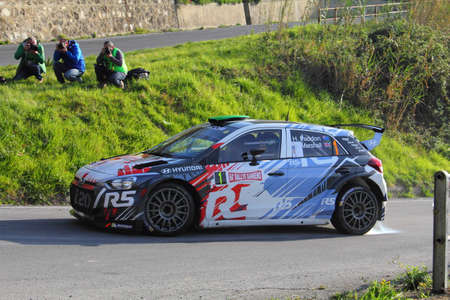 Testico Italy- 1 April 2017 to 64 Â ° Sanremo Rally Of: The hyundai j20 crew Paddon-Marshal during the special test speed timed called Ginestro Colle DOggia. Editorial