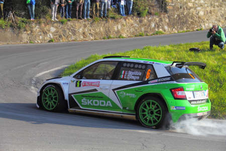 Testico Italy- 1 April 2017 to 64 � � Sanremo Rally Of: The Skoda Fabia crew shingle-DAmore during special test speed timed called Ginestro Colle DOggia.