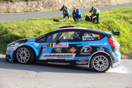 Testico Italy- 1 April 2017 to 64 Â ° Sanremo Rally Of: The Ford Fiesta crew Ferrarotti-Caputo during the special test speed timed called Ginestro Colle DOggia.