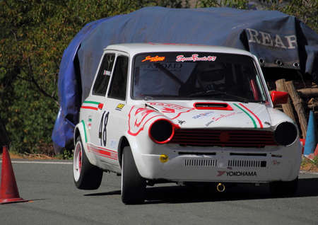 The 112 Abarth prototype rally car during the race of the speed uphill Falco Castle 2017 Edition.