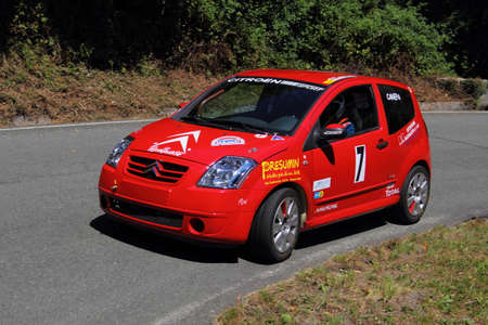 Citroen C2 Rally Car During The Race Of The Speed Uphill Falco