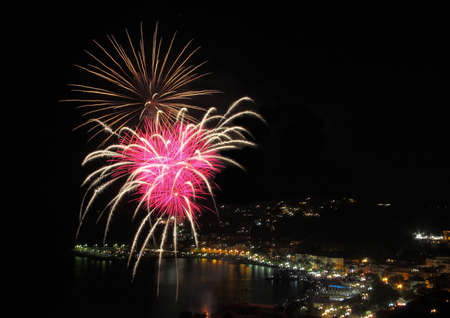 Artificial fires in Arenzano in the Ligurian Riviera of Ponente during the feast of San Nazario and Celso.