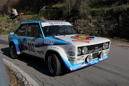 Sanremo Rally - April 14 2018 - Testico Italy: Fiat 131 Abarth racing car engaged in the race on the heights of Imperia.