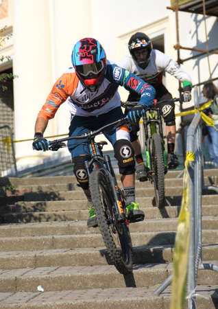 Recco (Italy) 20 October 2018 - urban down hill performance on the Recco's Urban Down The route started from the Monte di Portofino and ended on the Recco seafront. Editorial