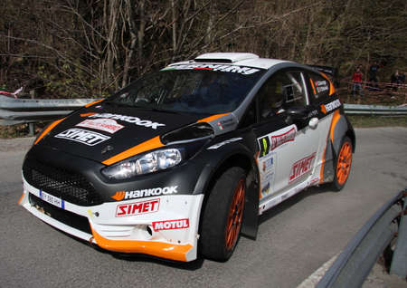 A Ford Fiesta racing car during the 62nd Sanremo Rally on April 11th 2015. The special time trial was the San Bernardo Di Conio. Redactioneel