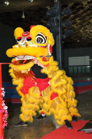 Genoa Italy - 09-03-2019: Lion dance at the festival of the East in Genoa. The lion dance on the poles is a typical Chinese tradition
