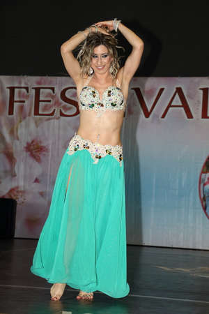 Genoa Italy-03-03-2019: Belly dance at the festival of the Orient in Genoa. Belly dance, emblem par excellence of enchanted oriental nights. Editorial