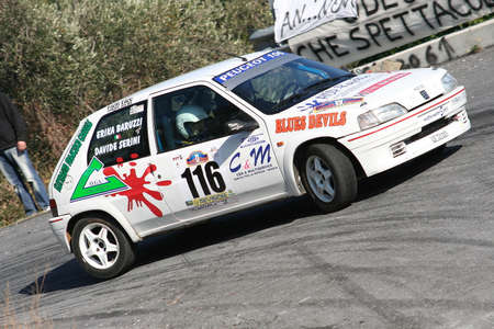 ALBENGA, ITALY - NOVEMBER 18, 2007: At Peugeot 106 racing during the first time trial of the 2nd Ronde of Albenga