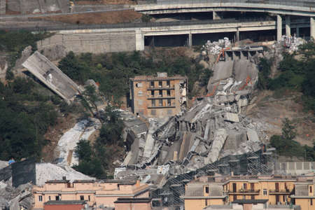 Genoa 28 June 2019: demolition by implosion of the 10 and 11 stacks of the Morandi viaduct. The lives of 43b people has passed 10 months.