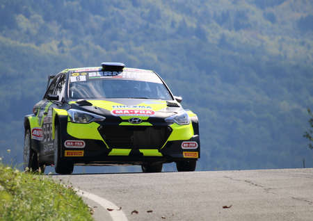 Santo Stefano D'Aveto, Italy- - September 6, 2020: the Skoda Fabia race car wrc R5 during the first timed time trial of the Rally Lanterna 2020.