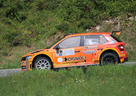Santo Stefano D'Aveto, Italy- - September 6, 2020: the Skoda Fabia race car wrc R5 during the first timed time trial of the Rally Lanterna 2020. Editoriali