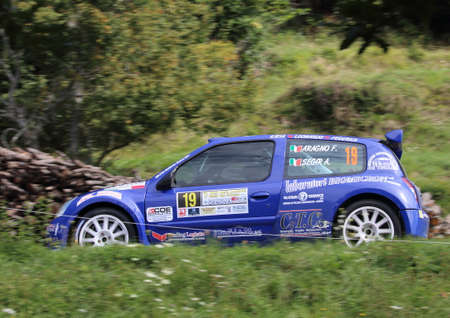 Santo Stefano D'Aveto, Italy- - September 6, 2020: the Renault Clio S 1600 during the first timed time trial of the Rally Lanterna 2020.