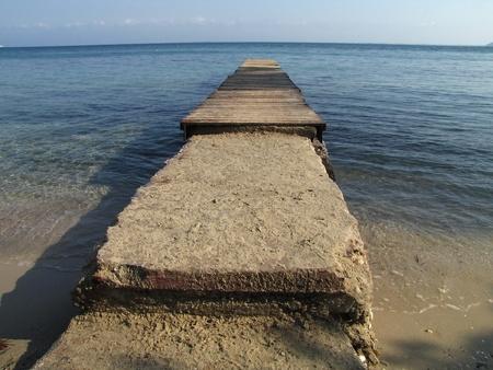 moll: marine moll in Papalimani beach, Thassos island, Greece Stock Photo