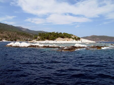 thassos:  Ancient marble quarry, view from the sea, Alyki, Thassos island, Greece